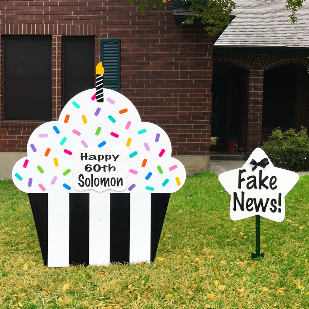 Black Tie - Happy Birthday Cupcake Yard sign, greater Baton Rouge