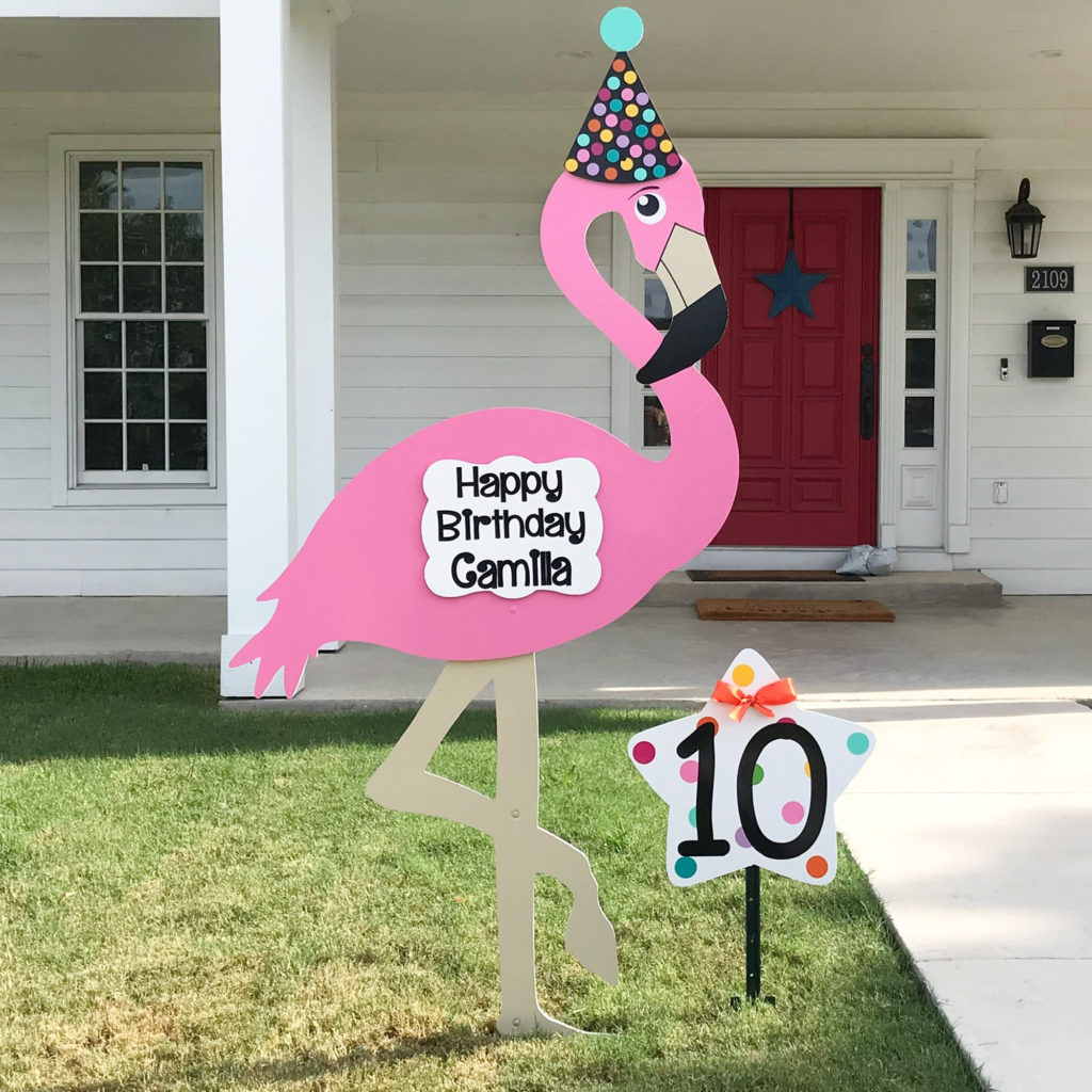 Happy Birthday Flamingo Yard sign, greater Baton Rouge