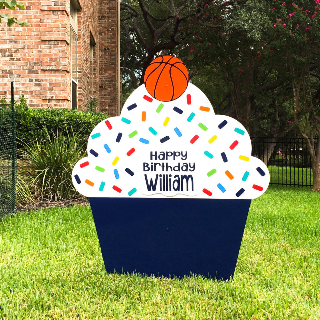 Navy Blue - Happy Birthday Cupcake Yard sign, greater Baton Rouge