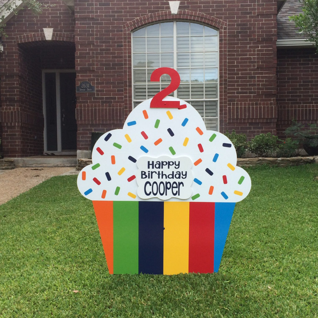 Rainbow Stripes - Happy Birthday Cupcake Yard sign, greater Baton Rouge