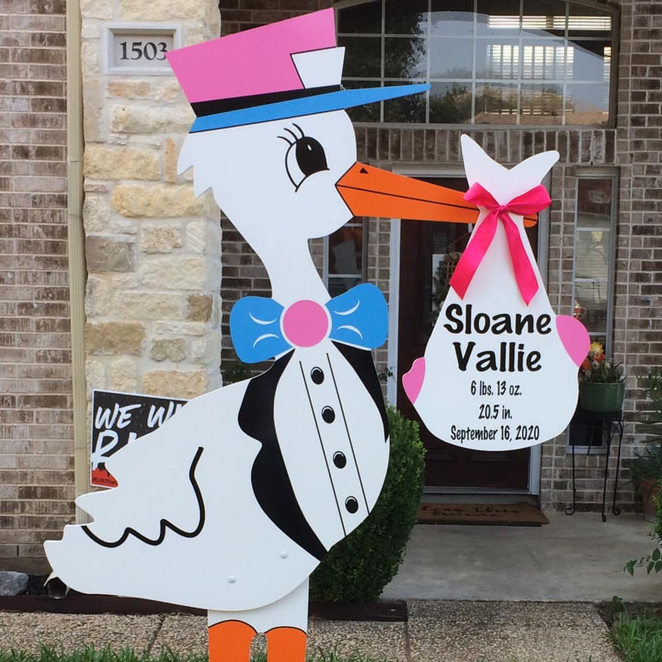 Girl Stork Sign Rental Baton Rouge Baby and Birthday Signs