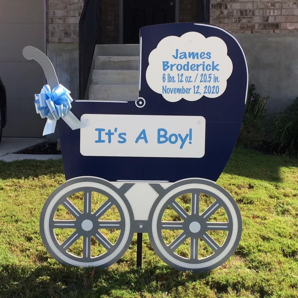 Carriage Birth Announcement Yard Sign, metro Baton Rouge