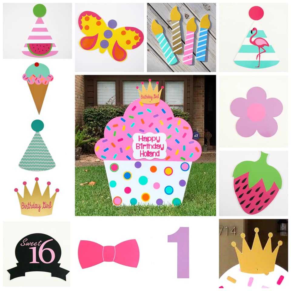 Cupcake Birthday Lawn Sign Baton Rouge Stork and Birthday Signs