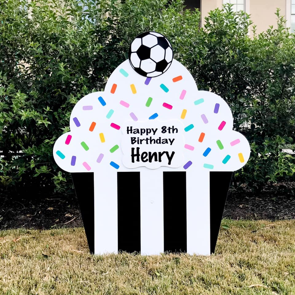 Black Tie Cupcake Sign with soccer ball, Baton Rouge, LA