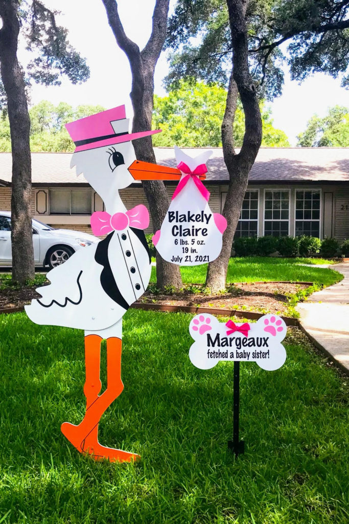 Pink Stork Yard Sign with Bone Sign